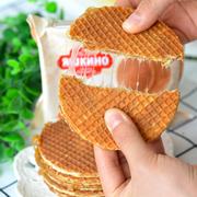 俄罗斯KDV焦糖拉丝饼华夫饼蜂蜜夹心饼干抖音小吃进口吃货小零食