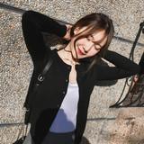查看精选针织外套女春秋季黑色小开衫毛衣外搭冬圆领百搭短款上衣最新价格