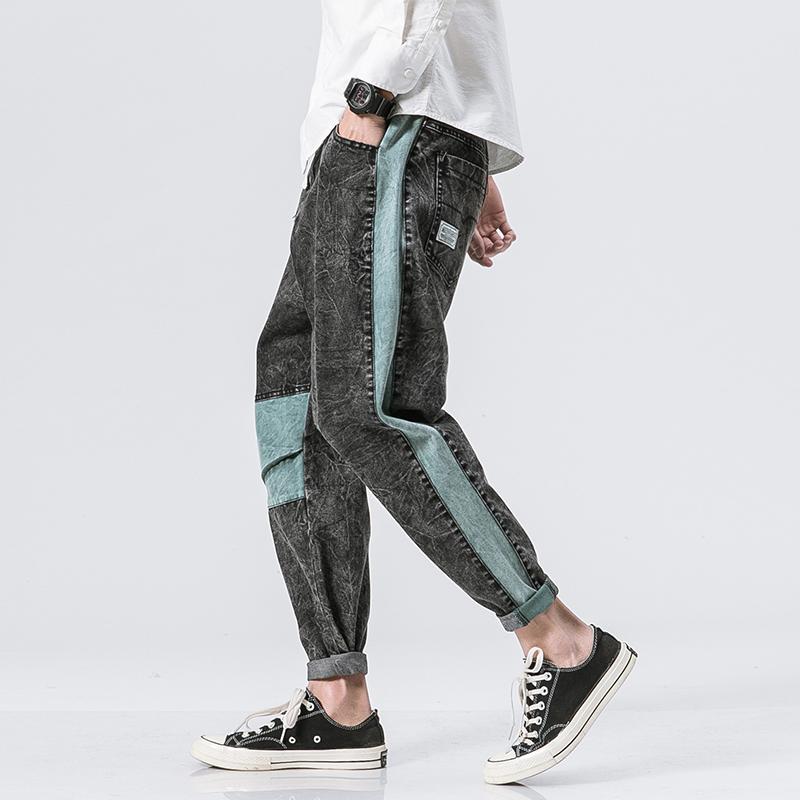 黑暗森林 春季美式复古潮男牛仔裤 日系撞色拼接青少年小脚长裤