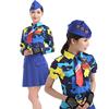 2018女套装演出服裙子长袖女广场舞蓝色表演服水兵舞服装