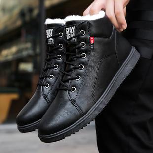 冬季男士雪地靴保暖加绒棉鞋高帮潮流板鞋百搭靴子鞋子男