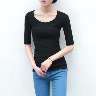 春夏莫代尔中袖打底衫女中长款半袖基础款上衣五分袖T恤