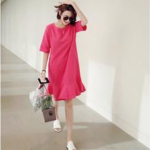 韩国棉麻连衣裙短袖女2019夏季中长款气质显瘦宽松大码鱼尾裙