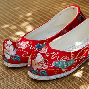 钟灵记凤尾鱼汉服弓鞋女内增高古风红色婚鞋绣花坡跟鞋翘头鞋