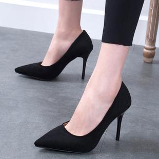 2018春季少女高跟鞋细跟女鞋尖头黑色百搭礼仪职业单鞋婚鞋秋