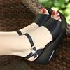 百丽纯爱厚底坡跟女凉鞋轻底真皮防水台罗马高跟大码女鞋