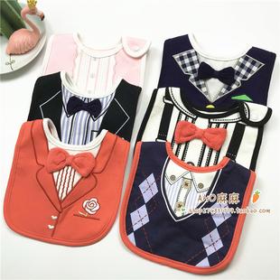 儿童立体绅士领结衬衫西装背带裤造型防水口水巾围嘴男女宝宝围兜