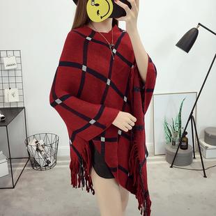 套头披肩斗篷外套女秋冬季宽松蝙蝠型针织衫毛衣流苏薄款罩衫