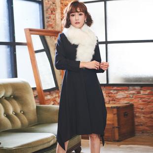 大码女装连衣裙秋冬款2017200斤显瘦遮肚藏肉赫本小黑裙