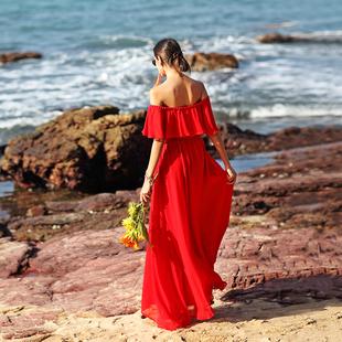 女夏2018一字领露肩显瘦马尔代夫连衣裙三亚海边度假沙滩长裙