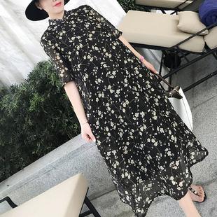 加大码旗袍胖mm夏200斤长裙a字版显瘦遮肚印花短袖旗袍连衣裙