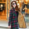 秋冬装中长款纯棉加绒衬衫女长袖保暖加厚格子衬衣打底衫上衣外套