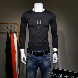 男长袖T恤秋季圆领打底衫男装3D字母印花丝光棉上衣青年小衫