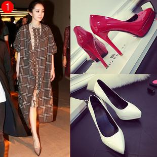 裸色防水台高跟鞋细跟尖头女性感超黑色夜店10cm12cm红色婚鞋职业
