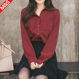 2018春装酒红色上衣通勤宽松显瘦垂感纯色白色雪纺衬衫女长袖