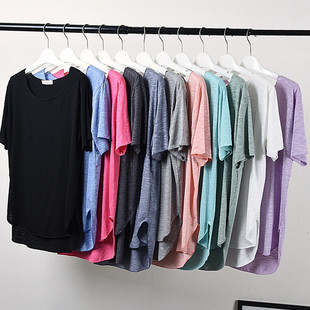 竹节棉T恤女装大码宽松显瘦半袖打底衫圆领短袖前短后长上衣