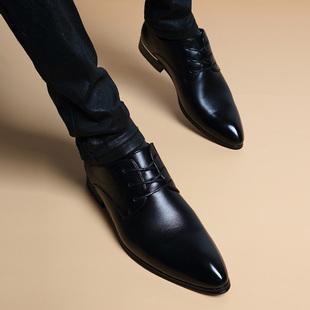 冬季加绒尖头商务真皮内增高6cm皮鞋男士英伦正装男鞋子