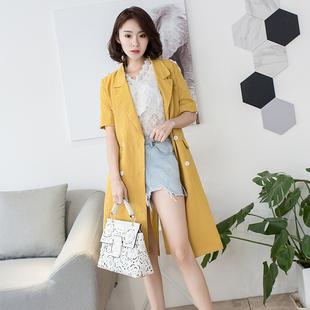 2018夏季棉麻中长款欧洲站外套女装纯色双排扣短袖薄西装