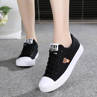 春秋布鞋系带帆布鞋单鞋经典白黑色学生板鞋平底球鞋