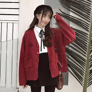 2018秋季开衫外套女复古港味V领宽松chic学生针织衫毛衣