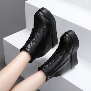 欧洲站英伦系带马丁靴女高帮皮鞋秋冬坡跟厚底内增高短靴春秋单靴