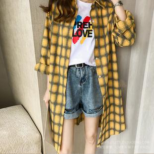 2019春季宽松显瘦格子长袖薄款防晒衣外套中长款衬衫女潮