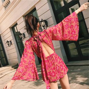夏季海边海岛度假套装马尔代夫沙滩裙裤女露背阔腿短裤碎花连体裤