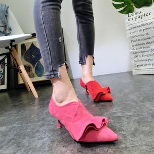欧洲站秋季糖果色裙摆深口尖头绒面细跟高跟鞋猫跟鞋小跟单鞋女鞋