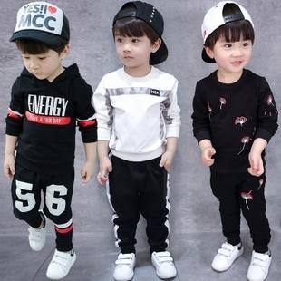 1童装3岁男童圆领套装春秋季T恤5儿童运动4纯棉宝宝字母卫衣2件套
