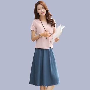2018夏季流行女装棉麻连衣裙时尚套装裙夏天两件套裙子潮