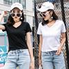 2件2018夏装t恤女士短袖纯棉V领学生宽松白色上衣体恤