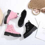 秋冬chic马丁靴超可爱心型搭扣欧美真皮厚底原宿朋克粉色磨砂短靴