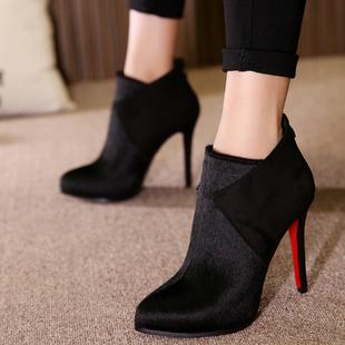 尖头短靴女鞋高跟细跟马毛短靴内防水台秋冬款马毛踝靴马丁靴