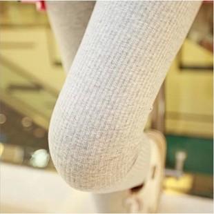 秋冬季螺纹打底裤女士外穿纯棉薄款竖条纹九分裤显瘦灰黑色小脚裤