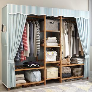 衣柜简约现代经济型组装实木板式大布衣柜实木牛津布衣橱省空间