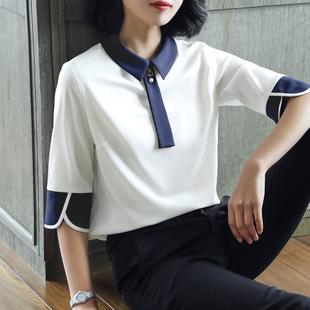 大码白衬衣女短袖2019夏季气质时尚雪纺衬衫OL小衫潮
