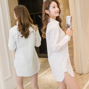 白衬衫女长袖宽松百搭秋冬大码女装中长款BF打底衬衣寸