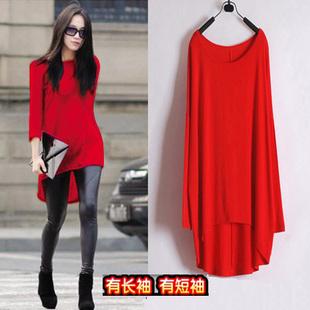 打底衫女秋长袖中长款宽松不规则长版T恤红色大款长衫