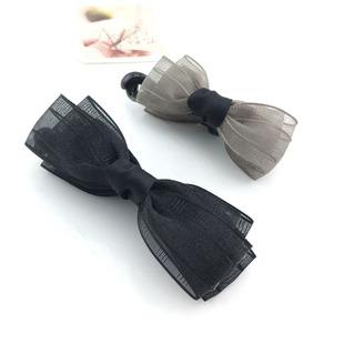 发量少娟纱小号香蕉夹竖夹扭夹马尾发夹布艺蝴蝶结发饰