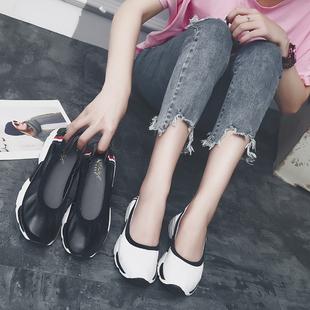 夏季软底圆头旅游鞋小白鞋平底真皮鞋孕妇单鞋厚底女鞋懒人鞋