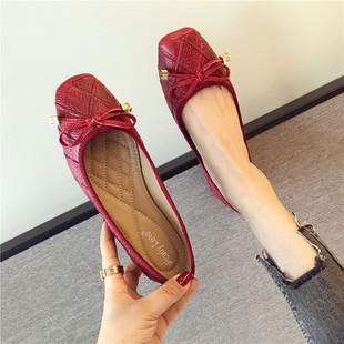欧美时尚蝴蝶结平跟浅口单鞋女2019春季百搭方头平底鞋女