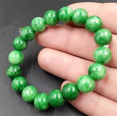 天然缅甸翡翠A货干青铁龙生直径10mm圆珠手链翡翠满绿男女款手串