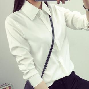 加绒加厚白衬衫女长袖秋冬宽松职业装学生保暖打底衫大码衬衣