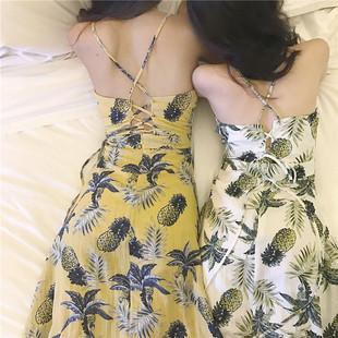 夏装2018女温柔气质菠萝显瘦印花长裙百搭交叉露背吊带连衣裙