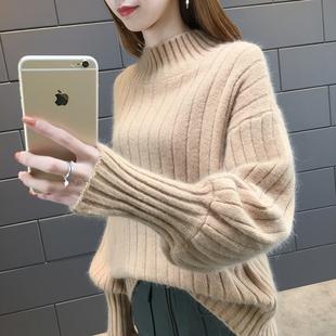 2018早秋女装宽松时尚半高领灯笼袖针织打底衫套头毛衣