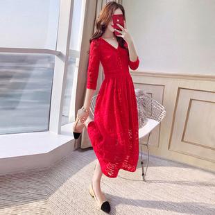 红裙子新娘礼服裙2019女装春装中长款大码夏装蕾丝红色连衣裙