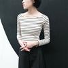 一字领横条纹T恤女长袖秋冬韩国显瘦百搭针织打底衫春天体恤