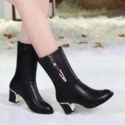 2017秋冬中筒靴欧美粗跟女鞋女靴子中跟短靴女尖头马丁靴子