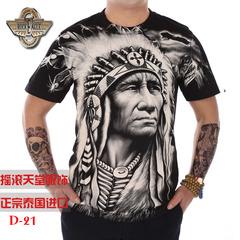 泰国时尚潮牌Rock Eagle印第安T恤酋长大图印花男士纯棉短袖T恤