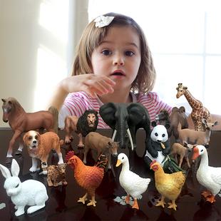 仿真动物模型 儿童小动物园玩具农场家禽畜老虎牛马兔鸡鸭鹅模型
